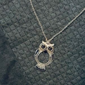 Black and silver Owl necklace